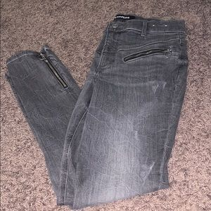 Express Gray Stretch Ankle Highrise Jeans